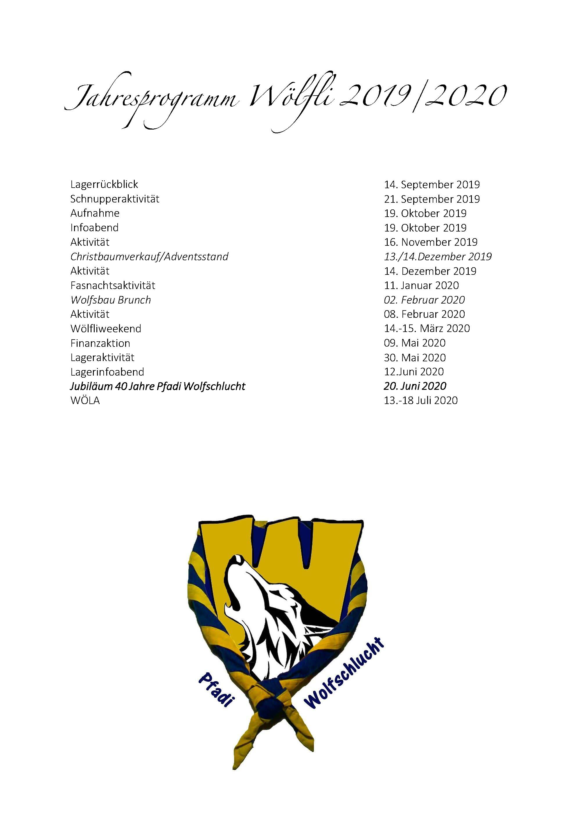Jahresprogramm Wlfli 19 20